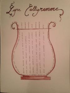 L'Oiseau-Lyre, Lyre Calligramme, encre sépia, stylo noir, 29.7x42cm, 17 janvier 2016
