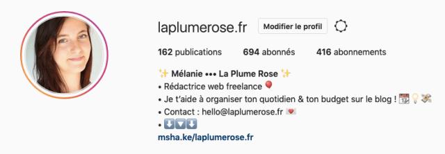 Biographie instagram