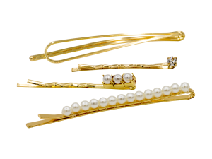 gold bobby pin set with pearls