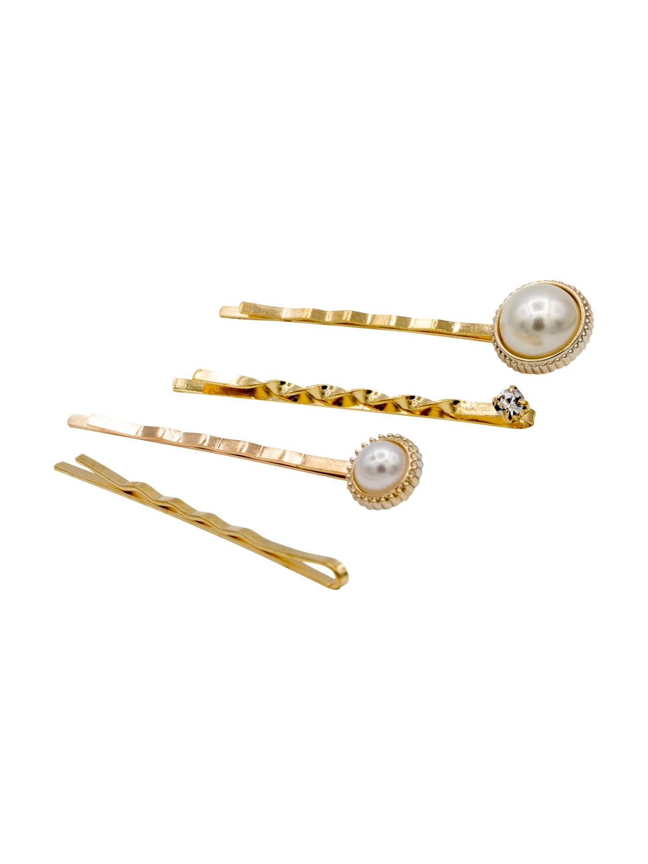Gold bobby pins set with pearls