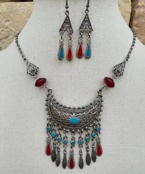 Parure maya métal rouge et turquoise