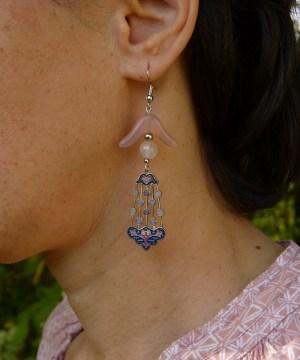 Boucles d'oreilles rétro «Rose antique»
