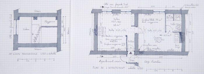 Plans d'un appartement dont j'ai fait la maquette