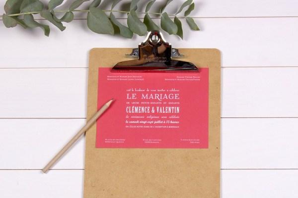 L'atelier Rosemood - Faire-part- Rouge - Typographie -  L'apprentie Mariée