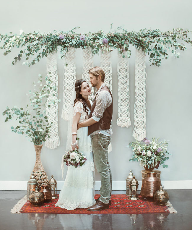 macramé backdrop couple Hazelwood Photo