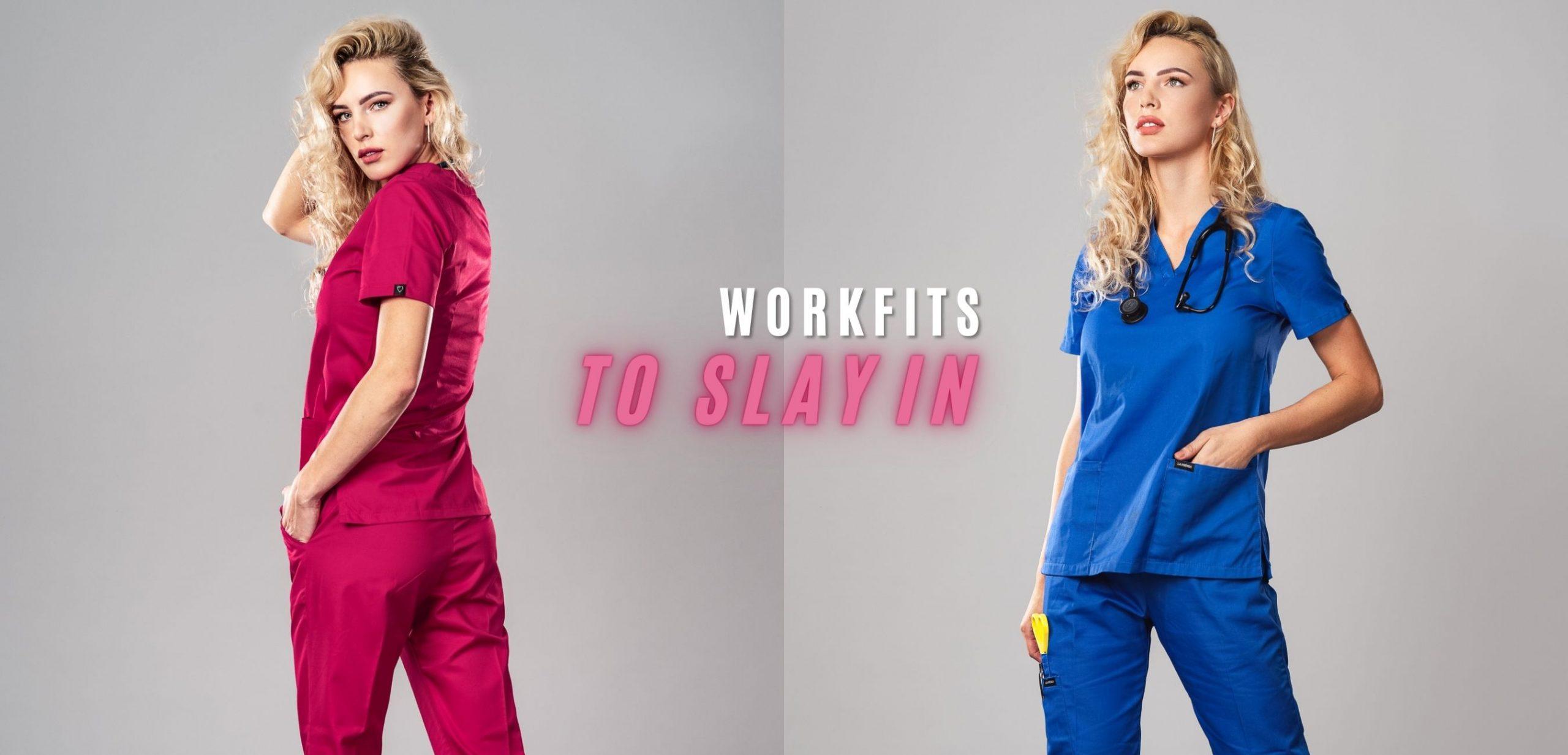 Pyjama medical Hot Pink & Azure Face / 3/4 Avant Gauche 2+
