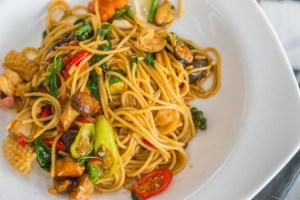 spice spaghetti with seafood