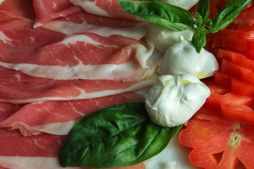 prosciutto, mozzarella di bufala, tomato and basil