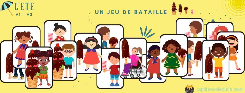 Jeu bataille pour apprendre le français enfants