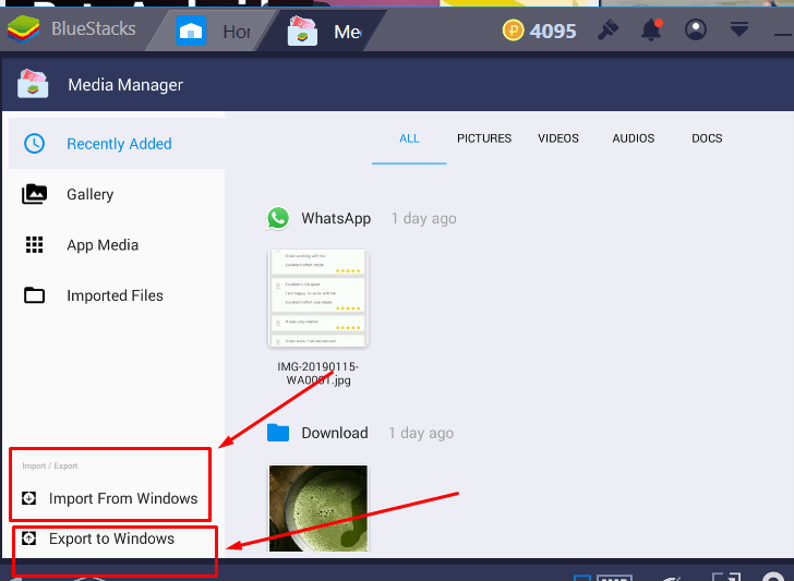 How to transfer files between Bluestacks 4 and laptop, PC