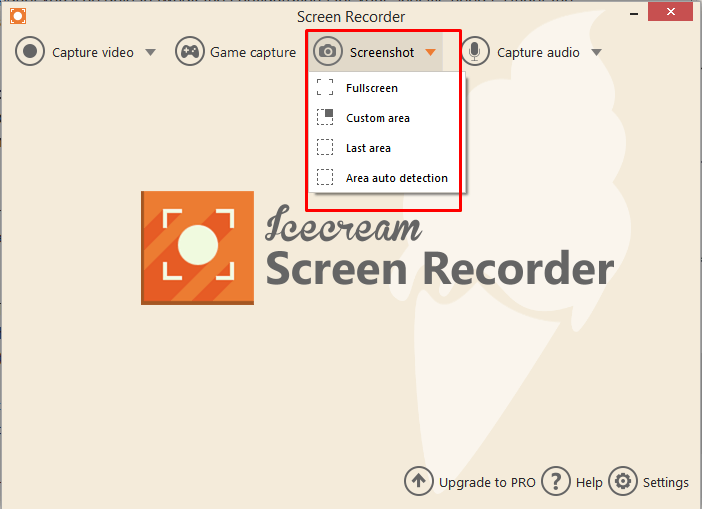 Icecream screen recorder screenshot options