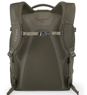Backside of Osprey Quasar Laptop Backpack