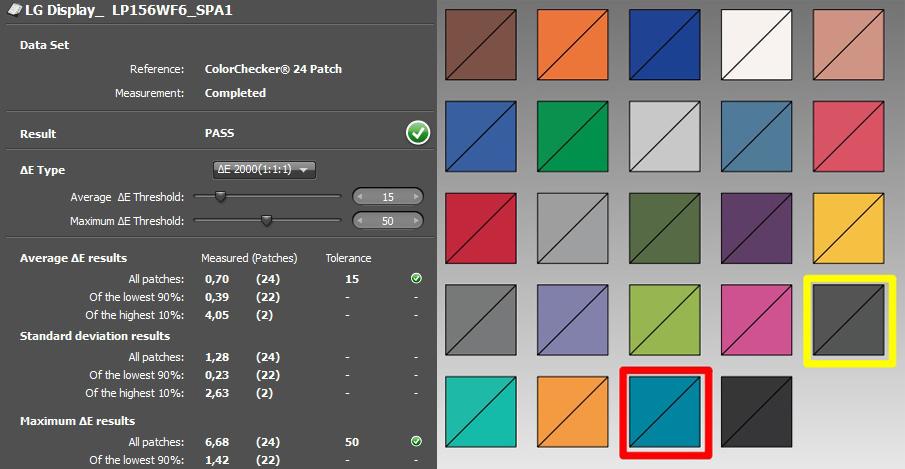 Toshiba L50 color checker