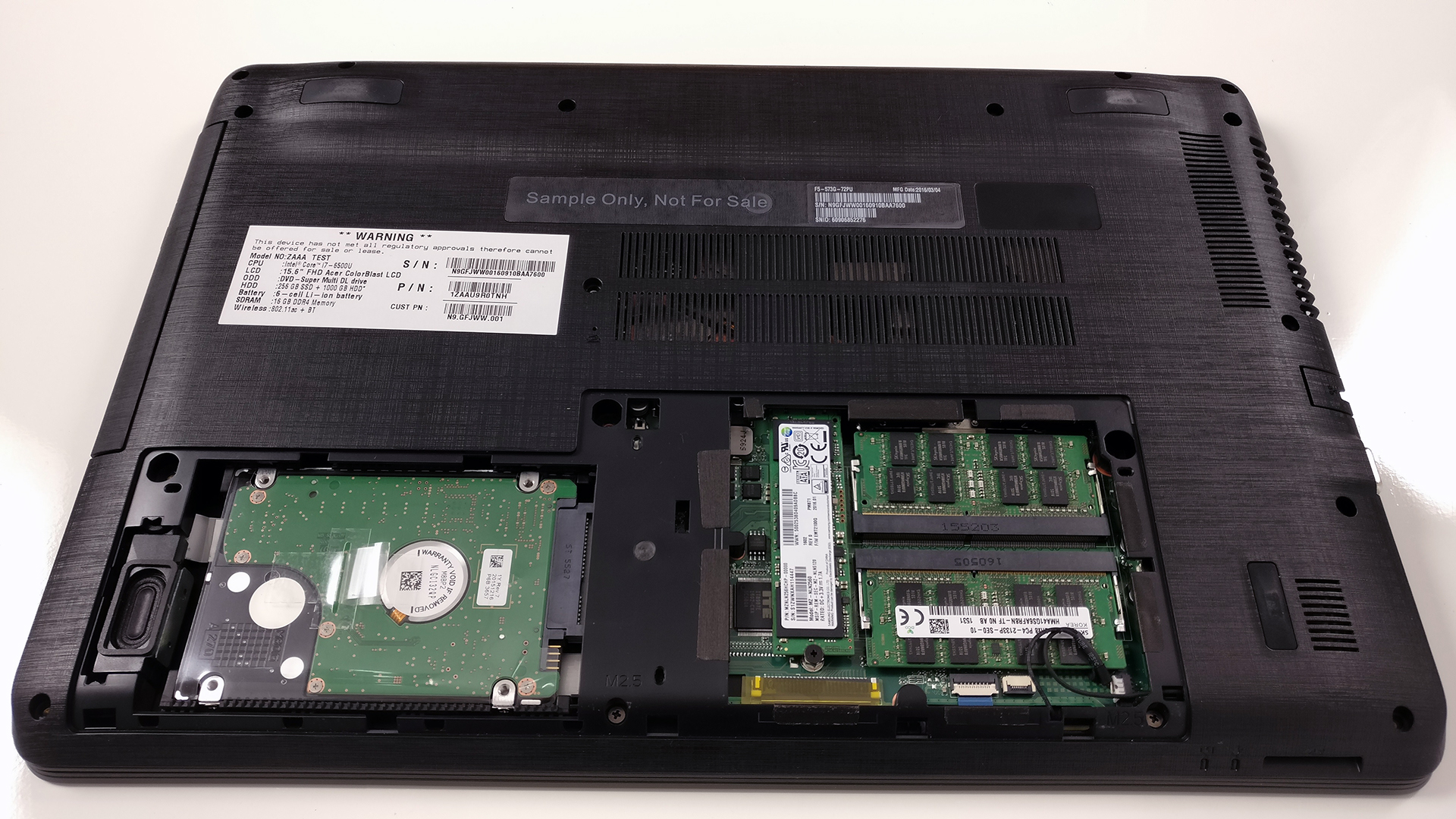 Inside Acer Aspire F 15 F5 573G Disassembly Internal