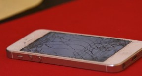Image of an iPhone with a cracked screen
