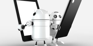 Image of two android bots holding tablets for mobile repair