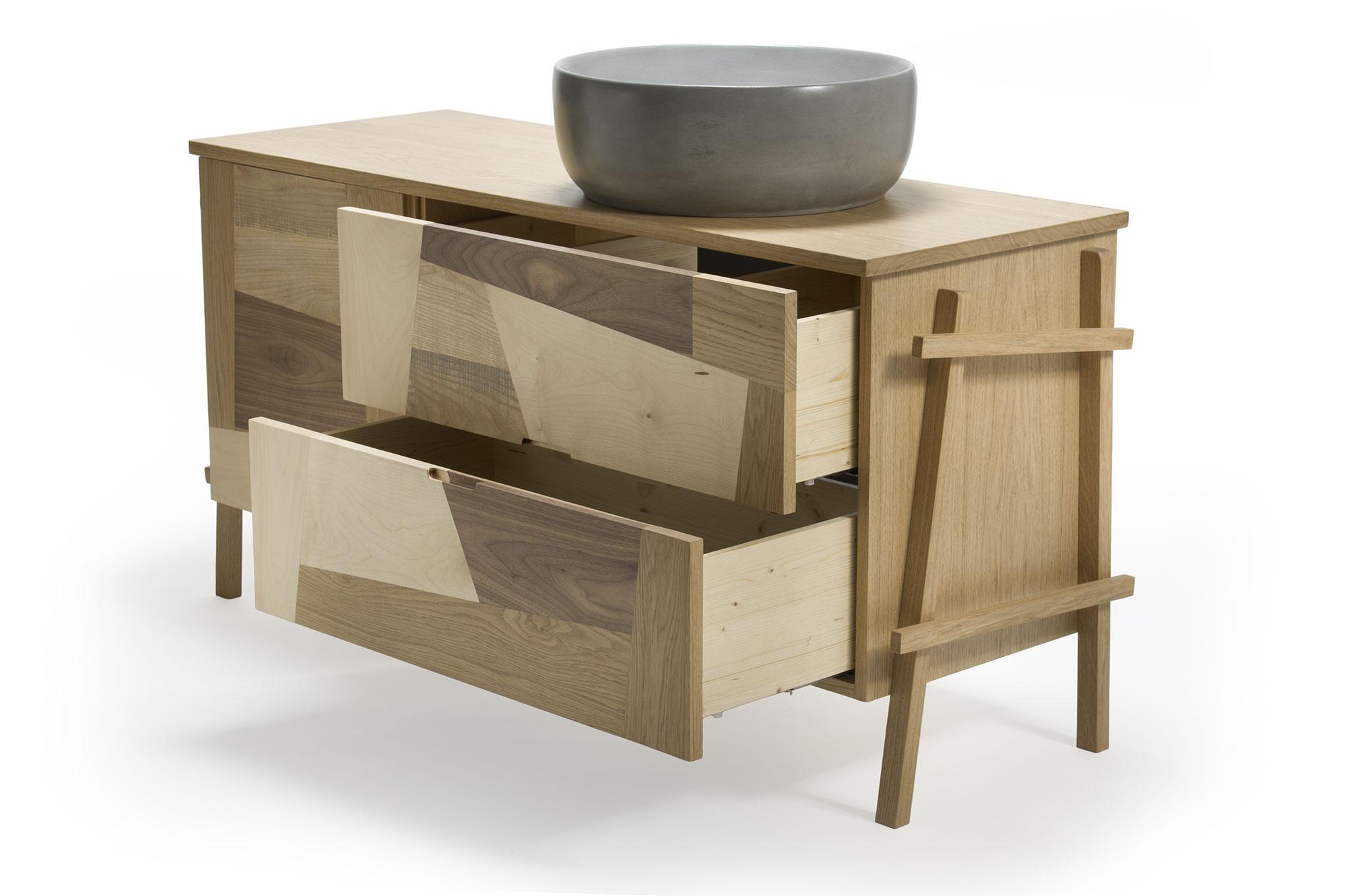 Mobile bagno cassetti legno massello e vasca Maidea