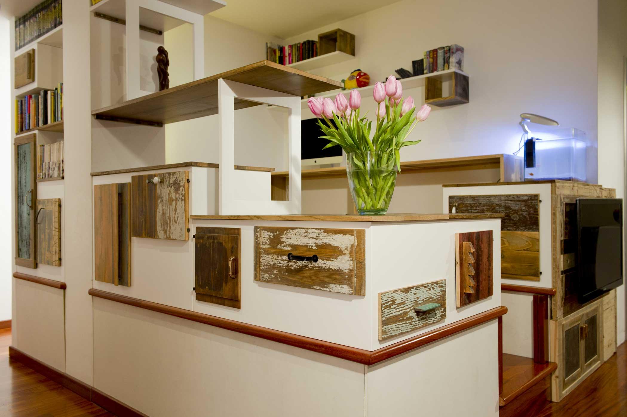 Mobili contenitori per soggiorno su misura artigianali