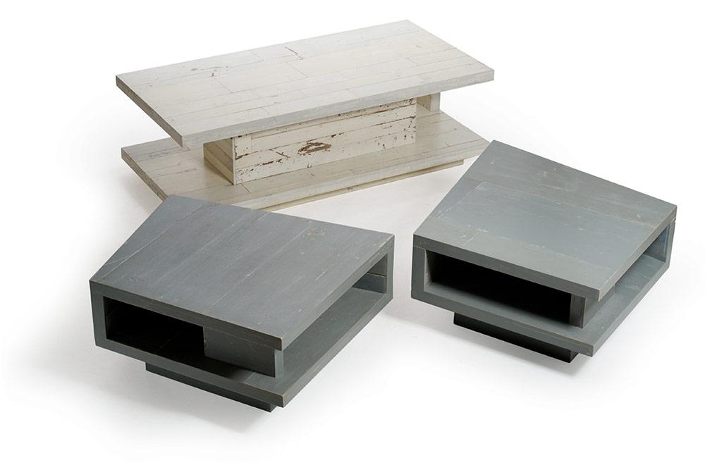 Tavolinetto da salotto in legno grigio design artigianale