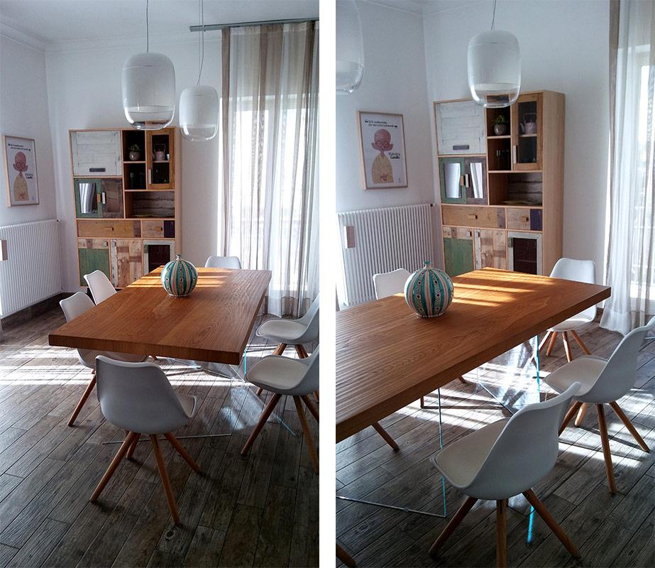 Credenza con vetri e sportelli in legno rigenerato color verde nel soggiorno