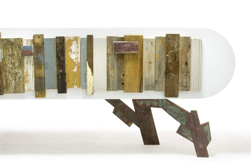 cassettiera maxi cassettone listelli legno vintage colorato
