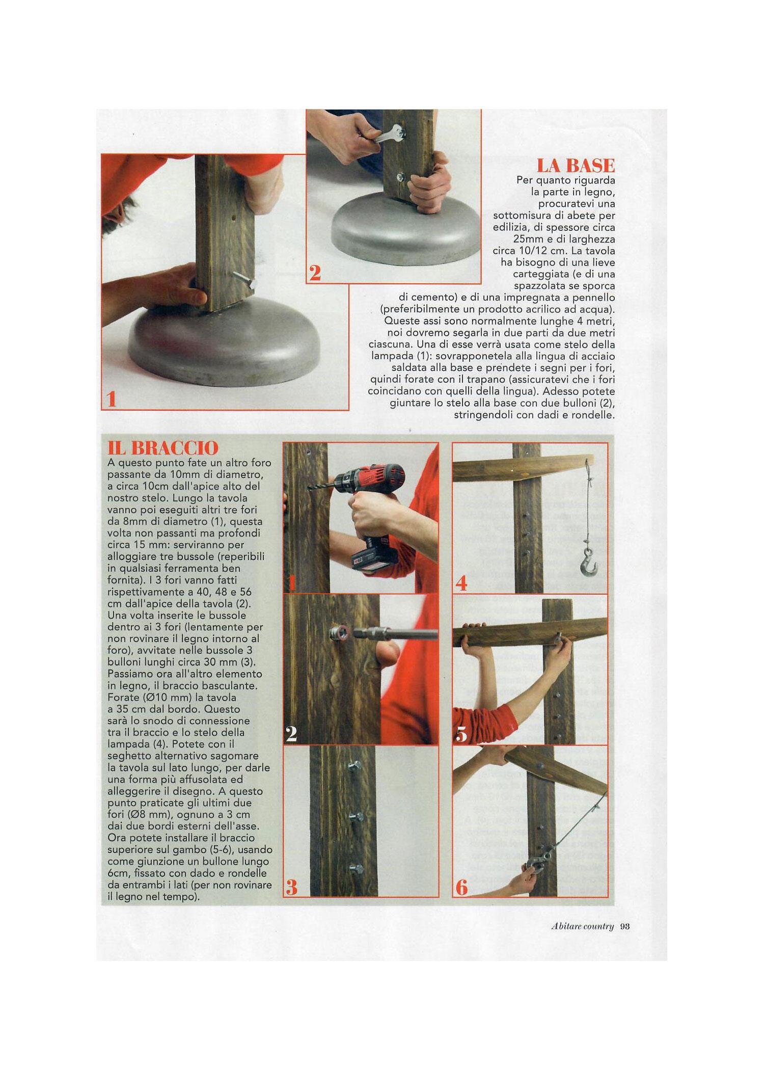Come si costruisce una lampada con Laquercia21. Pubblicazione rivista Abitare Country Borderline