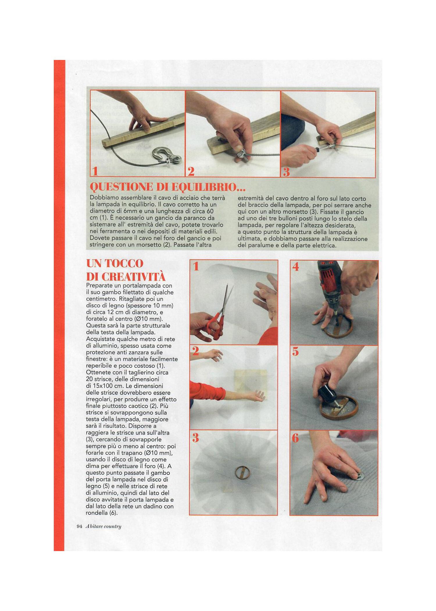 Laquercia21 pubblicazione Abitare Country come costruire una lampada