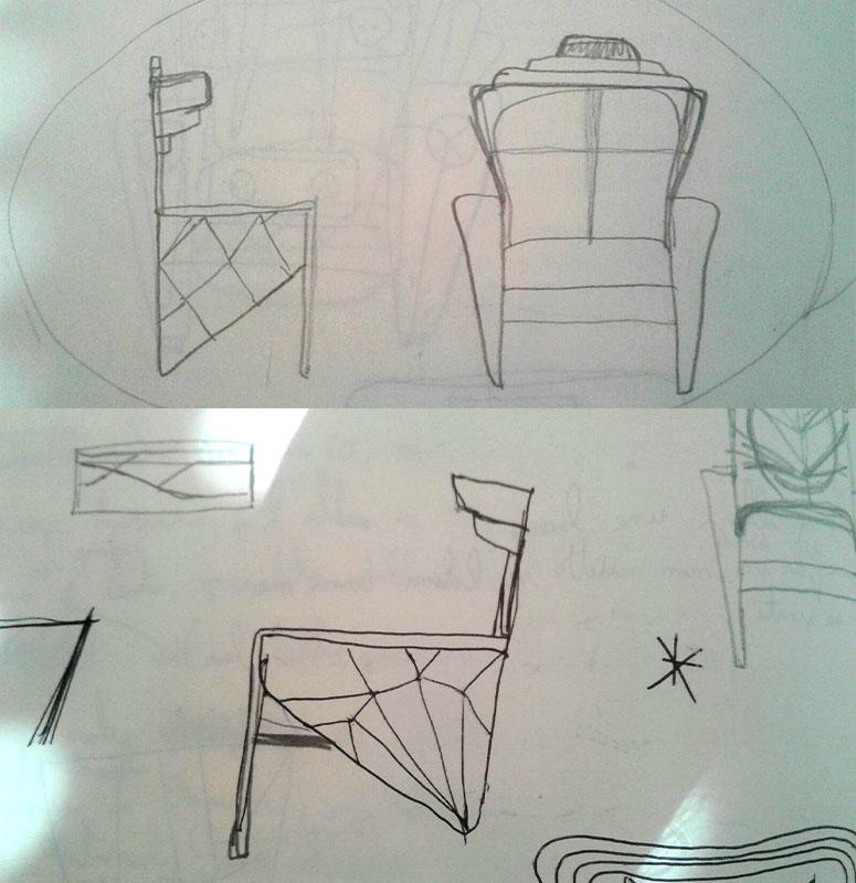 Progetto per prototipo poltrona di design in legno