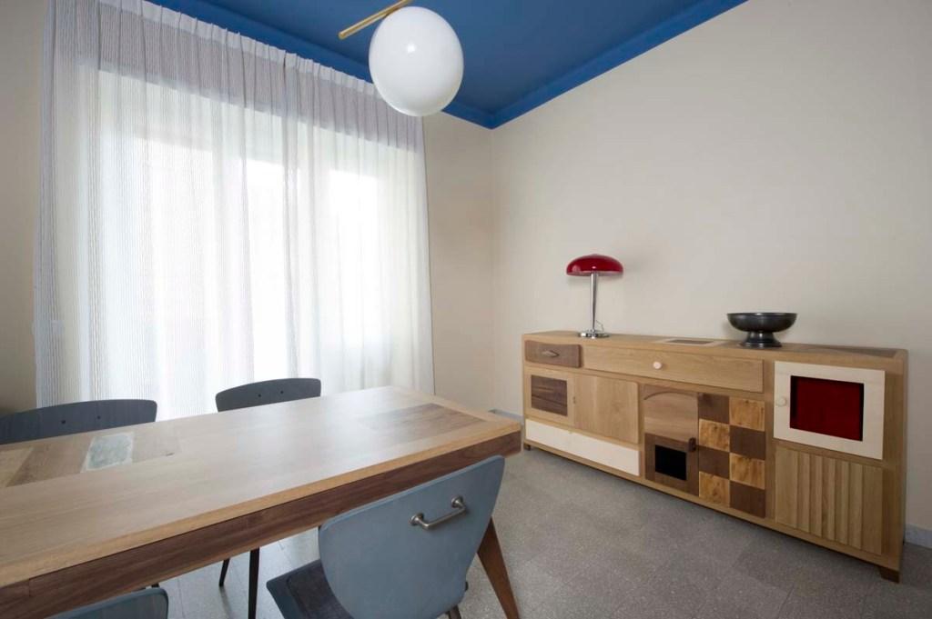 sala da pranzo contemporanea in legno e mobili design artigianali