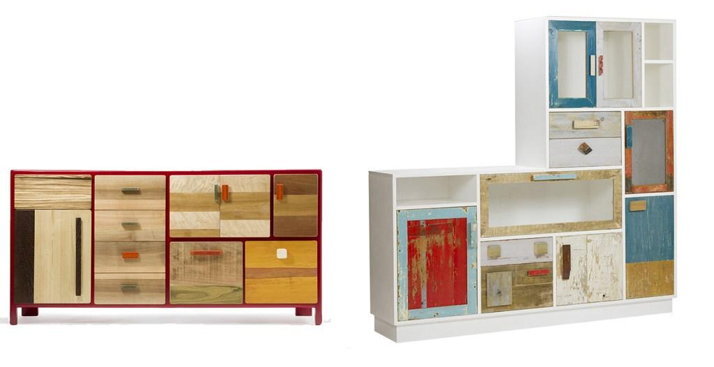 due credenze per il soggiorno in legno di recupeor colorato su misura artigianali