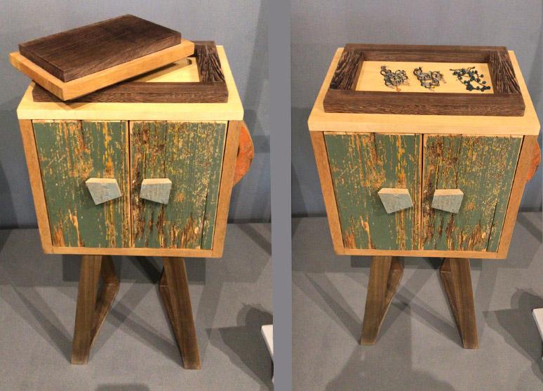 comodino portagioie legno