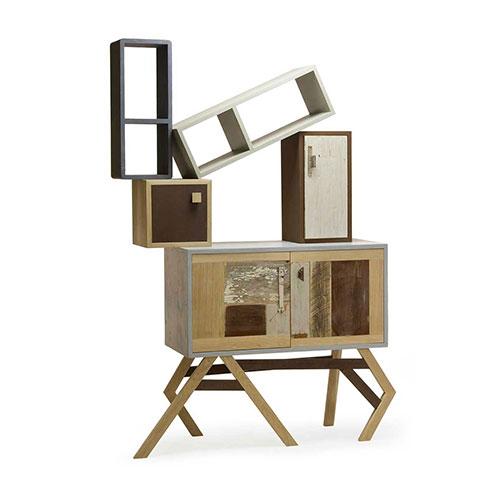 mobile espositore con ante e ripiani in legno di recupero e legno massello