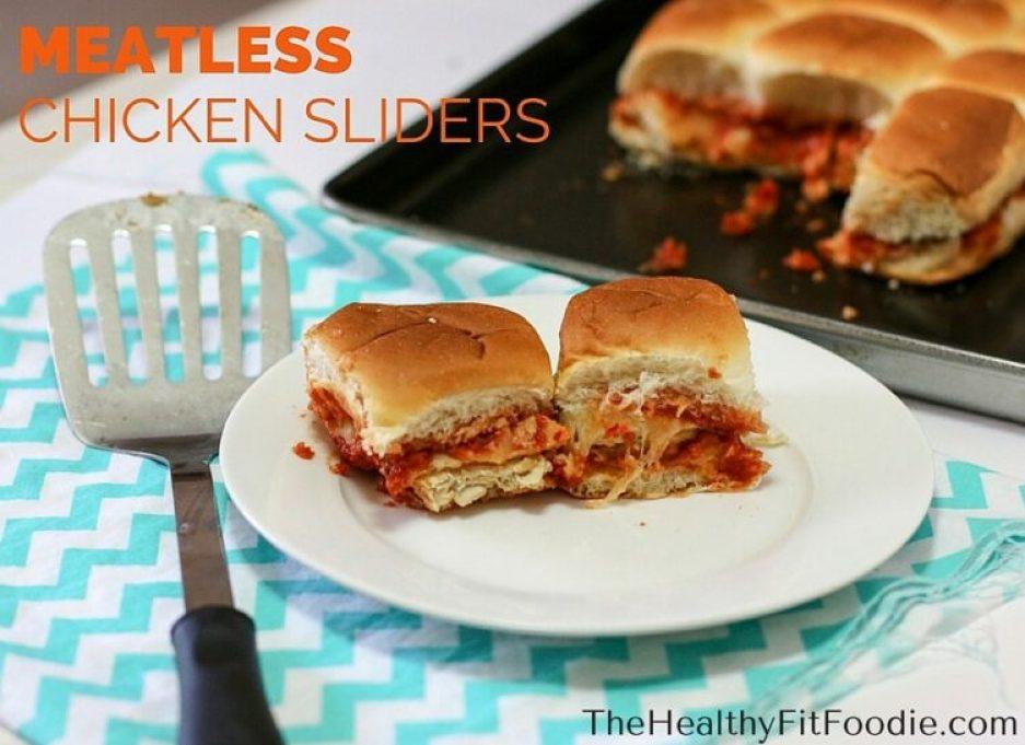 Meatless chicken sliders, healthy chicken sliders, healthy tailgating foods, chicken sliders