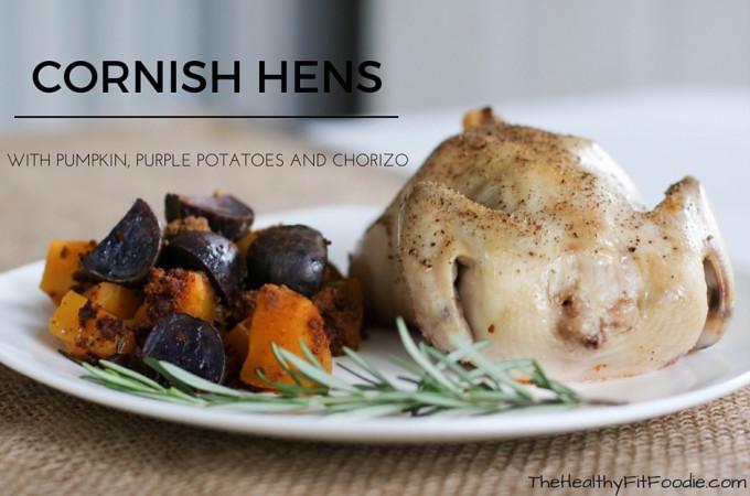 Cornish Hens with pumpkin, purple potatoes and chorizo.