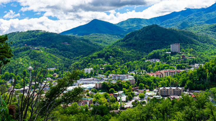 view of Gatlinburg from the mountains