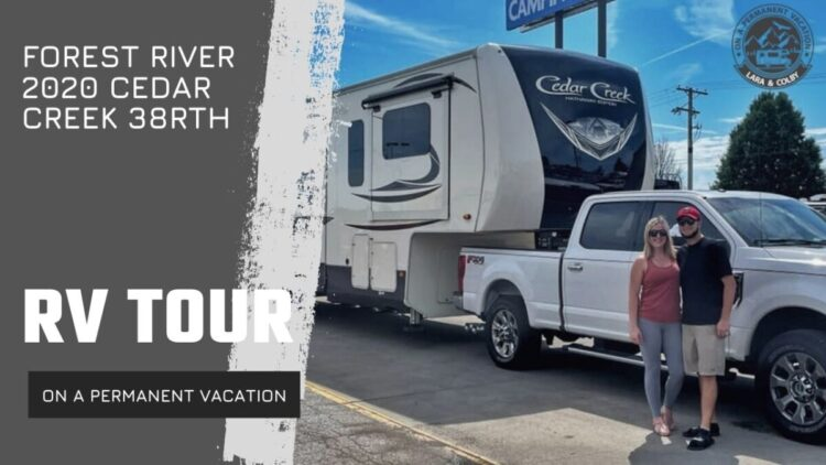 rv tour thumbnail - lara and Colby in front of their RV