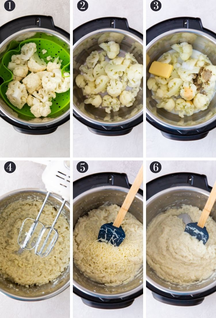 picture collage of steps to make cauliflower mash in the instant pot