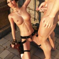 Lara Croft just got some other kind of treasure all over her nude bra-stuffers