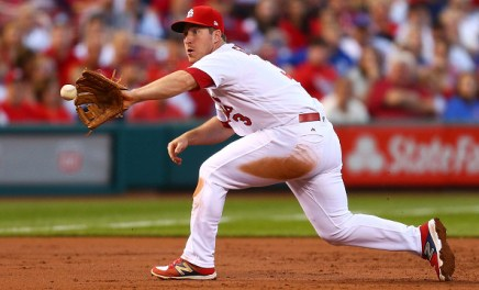 ST. LOUIS, MO - MAY 12: Jedd Gyorko #3 of the St. Louis Cardinals fields a ground ball against the Chicago Cubs in the second inning at Busch Stadium on May 12, 2017 in St. Louis, Missouri. (Photo by Dilip Vishwanat/Getty Images)