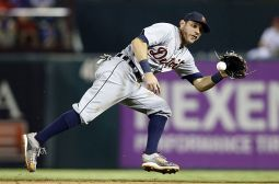 Sep 30, 2015; Arlington, TX, USA; Detroit Tigers second baseman Ian Kinsler (3) fields a ground ball in the eighth inning against the Texas Rangers at Globe Life Park in Arlington. Texas won 6-2. Mandatory Credit: Tim Heitman-USA TODAY Sports