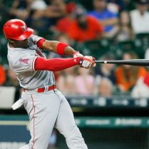 HOUSTON, TX - SEPTEMBER 23: Justin Upton #9 of the Los Angeles Angels of Anaheim hits a home run in the seventh inning against the Houston Astros at Minute Maid Park on September 23, 2017 in Houston, Texas. (Photo by Bob Levey/Getty Images)