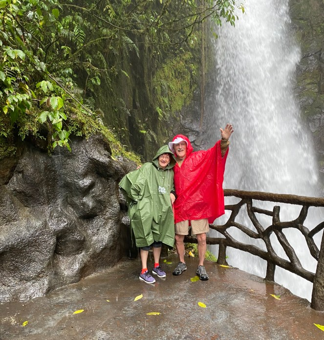 Lin and Larada at the La Paz waterfall, Costa Rica