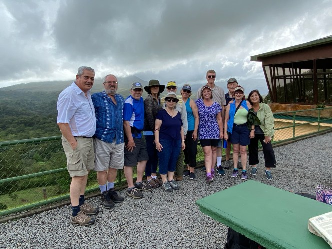 Our group at the Smithsonian Observatory with Arenal volcano in the background
