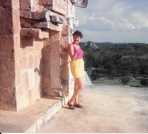 Larada at the top of Uxmal, 1991 - Haunted by Coba