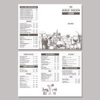 Halfmoon-Gastgarten Getränkekarte aufgeklappt offen alle seiten sechs seitig