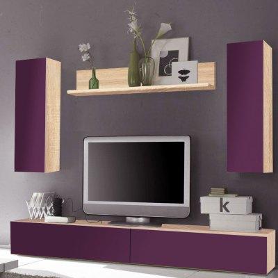 Living Elton 2.4 M Stejar Bardolino/ usi MDF Violet lucios