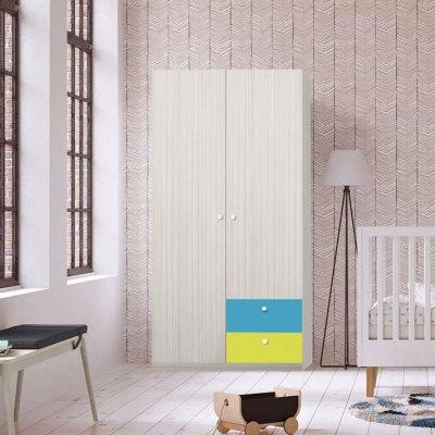 Dulap Alegria 2S, Ferrara/Albastru/Verde, 200x100x50 cm