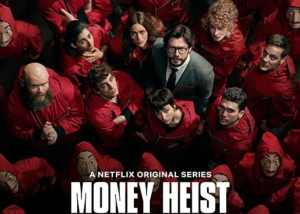 Money heist cover, faces looking up