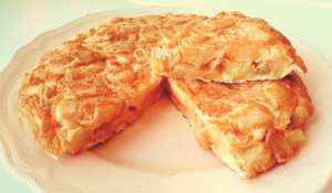 Tortilla de papas presented on a plate
