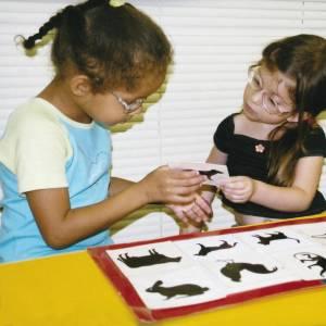 Duas meninas de aproximadamente 5 anos, ambas de óculos. Estão sentadas lado a lado, em frente a uma mesa, onde está o Painel Bicharada. Olham para o cartão plastificado com a figura de um animal, que seguram com as mãos. Atrás delas, agachado, o mediador.